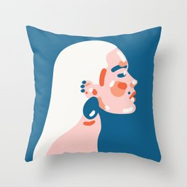 Classy fashion inspired simplified portrait of beutiful woman Art Print Throw Pillow