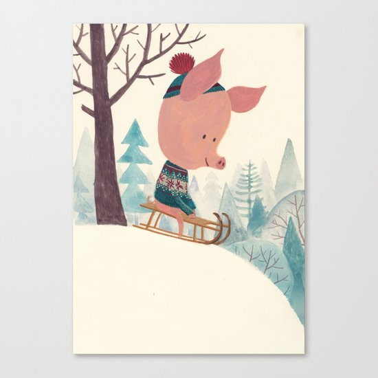 Winter pig Canvas Print