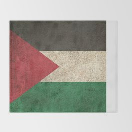 Old and Worn Distressed Vintage Flag of Palestine Throw Blanket