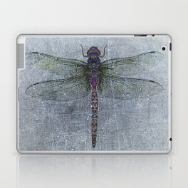 Dragonfly on blue stone and metal background Laptop & iPad Skin