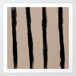 Medium Brush Strokes Vertical Black on Nude Art Print
