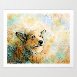 Dog 143 Corgi Art Print