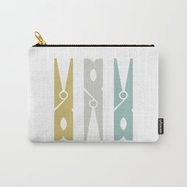 Turquoise and Gold Clothespins Carry-All Pouch