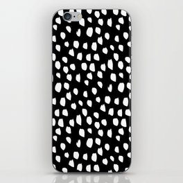 Handdrawn drops and dots on black - Mix & Match with Simplicty of life iPhone Skin