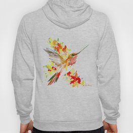 Hummingbird and Flame Colored Flowers, yellow red floral art design Hoody