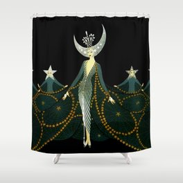 "Art Deco Design ""Queen of the Night"" Shower Curtain"