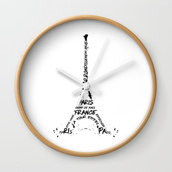 Digital-Art Eiffel Tower Wall Clock