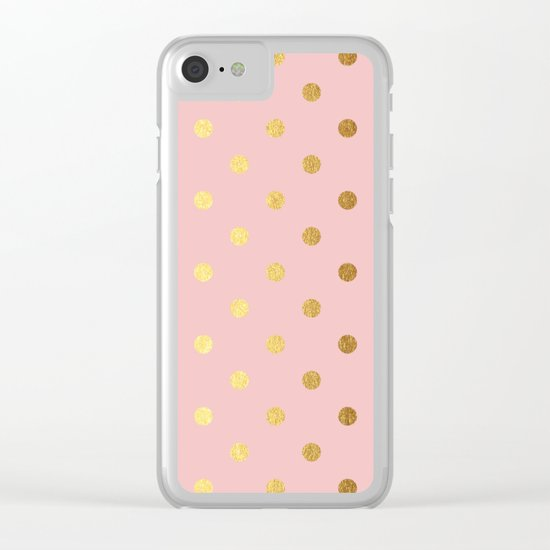 Gold polka dots on rosegold backround - Luxury pink pattern Clear iPhone Case