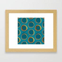 Solar Eclipse MCM Gold-Blue Framed Art Print