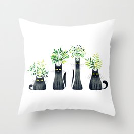 Four Plant Cats Throw Pillow