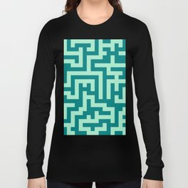 Magic Mint Green and Teal Green Labyrinth Long Sleeve T-shirt
