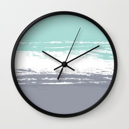 Pastel Color Blocks - Teal & Petroleum Wall Clock