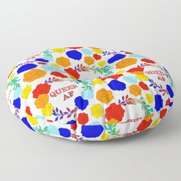QUEER AF - A Rainbow Floral Pattern Floor Pillow
