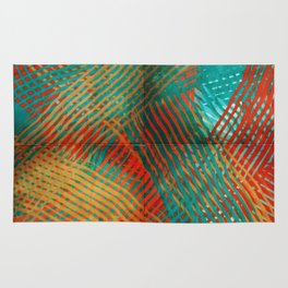 Red and Turquoise Weave Rug