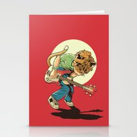 scott pilgrim Stationery Cards featuring Cat Pilgrim Versus The Litterbox of the World! by RHOB Designs