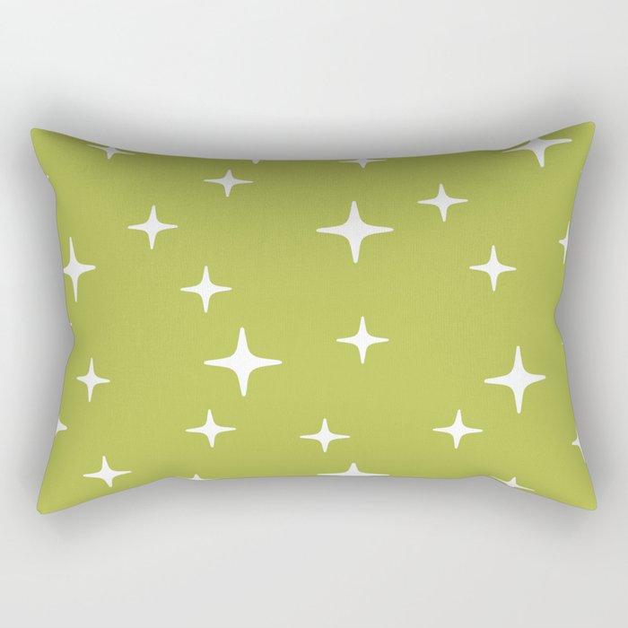 Mid Century Modern Star Pattern 443 Chartreuse Rectangular Pillow