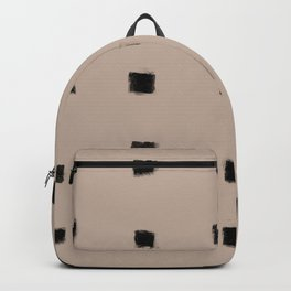 Polka Strokes Gapped - Black on Nude Backpack
