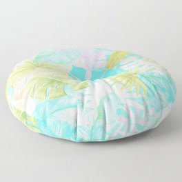 My Blue Green And Pink Summer Tropical Pastel Jungle Floor Pillow