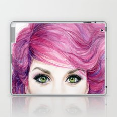 Pink Hair Green Eyes Beautiful Girl Laptop & iPad Skin