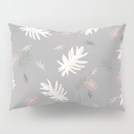 Palms pattern silver grey pink white light-grey autumn fall tropical society6 Pillow Sham