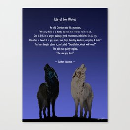 Tale of Two Wolves Canvas Print