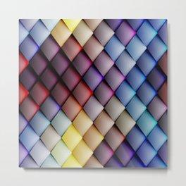 Cool Multicolor Textured Diamonds Abstract Design Metal Print