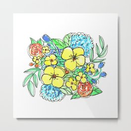Yellow and Blue Spring Floral Watercolor Metal Print
