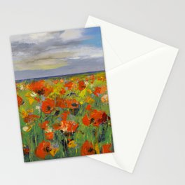 Poppy Field with Storm Clouds Stationery Cards