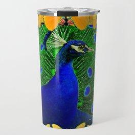 Chartreuse Wildlife Art Blue Peacock & Yellow Butterflies Art Travel Mug