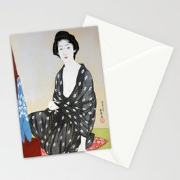 Woman in a Summer Garment Stationery Cards