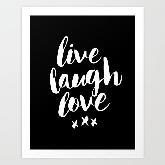 Live Laugh Love black and white monochrome typography poster design home wall decor canvas Art Print