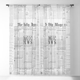 The Daily Mage Fantasy Newspaper Sheer Curtain
