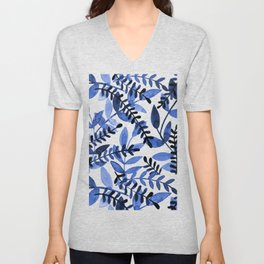 Watercolor branches - blue Unisex V-Neck