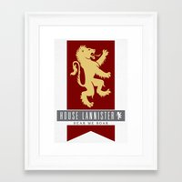 lannister Framed Art Prints featuring House Lannister Sigil by P3RF3KT