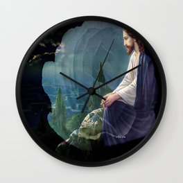 Jesus Christ On Mount Olive With White Rose By Annie Zeno Wall Clock