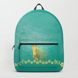Golden ghost horse on teal Backpack