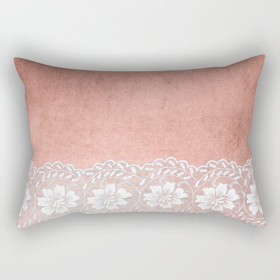 White floral luxury lace on pink rosegold grunge backround Rectangular Pillow