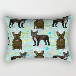 French Bulldog easter spring dog breed gifts pure breed frenchies black coat Rectangular Pillow