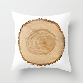 Realistic photo of detailed cut tree slice with rings and organic texture Throw Pillow