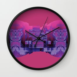 Fractured Portrait in Berry Wall Clock