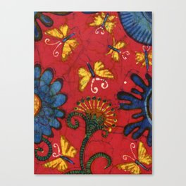 Batik butterflies and flowers on red Canvas Print