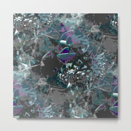 Forest first frost floral camouflage Metal Print