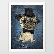 Pug; gentle pug (color version) Art Print