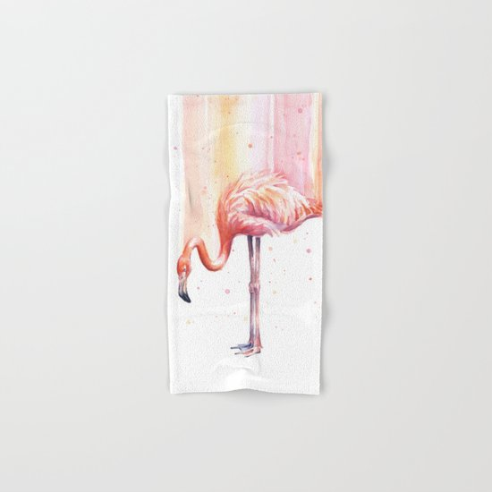 Flamingo Watercolor | Pink Rain Hand & Bath Towel