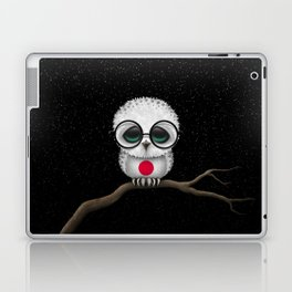 Baby Owl with Glasses and Japanese Flag Laptop & iPad Skin