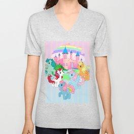retro g1 my little pony Dream Castle Unisex V-Neck