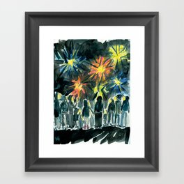 We held hands and watched the fireworks Framed Art Print