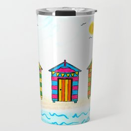 Seaside Beach Huts Travel Mug