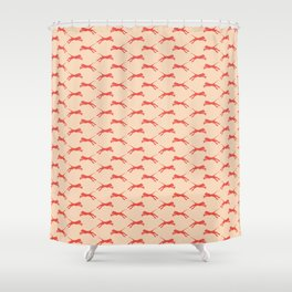 electric tiger in coral and peach Shower Curtain