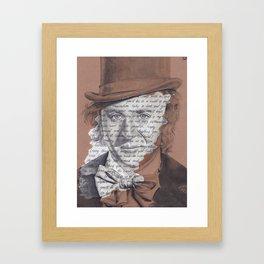 Willy Wonka Portrait with Pure Imagination Lyrics Framed Art Print